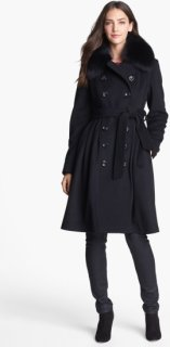 1 Madison Genuine Fox Fur Collar Wool Blend Coat 6