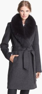 1 Madison Genuine Fox Fur Collar Wrap Coat 10