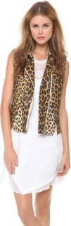 3.1 Phillip Lim Leather Leopard Biker Vest