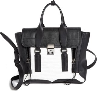 3.1 Phillip Lim Pashli - Medium Leather Satchel White/ Black