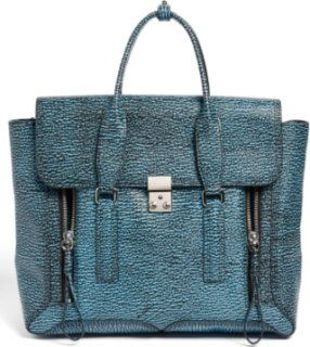 3.1 Phillip Lim Pashli Shark Embossed Leather Satchel Black/ Turquoise
