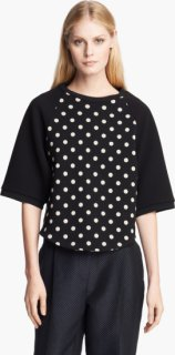 3.1 Phillip Lim Polka Dot Terry Top Black/ Oatmeal Large