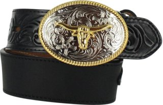 3D Floral and Solid Leather Belt
