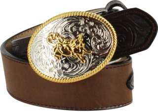 3D Floral and Solid Leather Western Belt