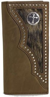 3D Hair on Hide Inlay and Cross Concho Rodeo Wallet