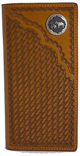 3D Leather Basket Weave Rodeo Wallet