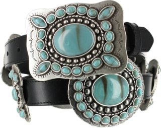 3D Turquoise Concho Ranch Angel Belt
