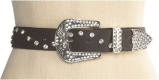 3D Horseshoe and Wings Leather Belt