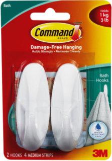 3M Command Medium Designer Bathroom Hooks - 2 Pack