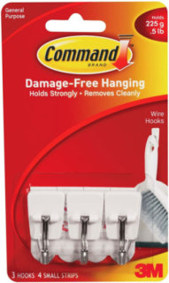3M Command Small Wire Hooks - 3 Pack