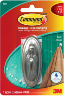 3M Command Traditional Medium Bathroom Hook - Brushed Nickel