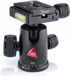 3Pod H1 BallHead with Removable Quick Release Plate Capacity 22lbs.