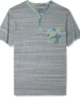3rd & Army Boss Heather Jersey With Camo Trim Henley