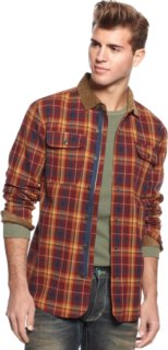 3rd & Army Gibson Flannel Shirt Jacket With Cord Collar