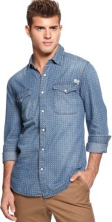 3rd & Army Long-Sleeve Printed Denim Button-Down
