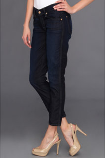 7 For All Mankind Crop Slim Cigarette in Rich Clean Blue