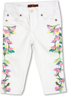 7 For All Mankind Cropped Skinny Floral Embroidery in Clean White