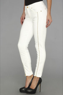 7 For All Mankind Cropped Skinny w/ Long Side Zips in Clean White