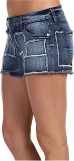 7 For All Mankind Cut-Off Short in Indigo Patchwork