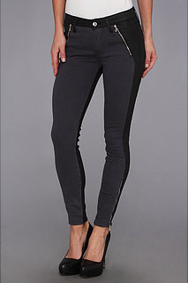 7 For All Mankind Fashion Zipped Skinny in Grey Sateen w/ Jeather