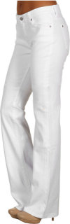 7 For All Mankind Kimmie Curvy Fit Bootcut w/ Dot Squiggle in Clean White