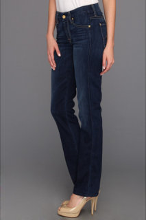 7 For All Mankind Kimmie Straight w/ Contoured Waistband in Radiant Medium Blue