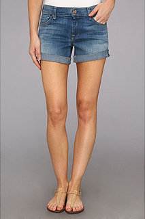 7 For All Mankind Mid Roll Up Short in Light Cobalt Blue