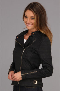 7 For All Mankind Motorcycle Jacket in Black Jeather