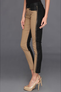 7 For All Mankind Pieced Cropped Skinny w/ Side Zips in Black/Khaki Piecing