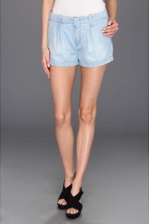 7 For All Mankind Pleated Short in Lightweight Tencel Denim