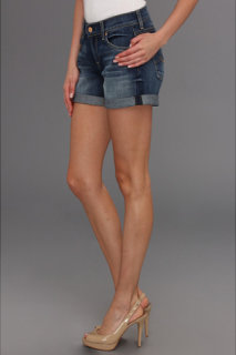 7 For All Mankind Relaxed Mini Roll-Up Short in Authentic Bright Blue