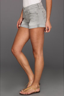 7 For All Mankind Relaxed Mini Roll-Up Short in Light Grey Destroy