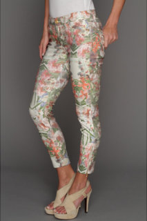 7 For All Mankind Side Zip Cropped Skinny in Ecru Tropical Paradise