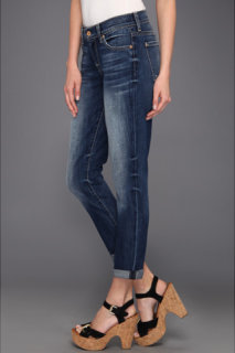 7 For All Mankind Skinny Crop Roll in Authentic Bright Blue