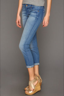 7 For All Mankind Skinny Crop Roll in Gleaming Red Cast