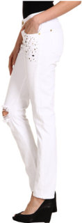 7 For All Mankind Slim Cigarette in White Destroyed w/ Crystals