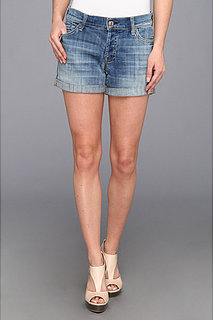 7 For All Mankind Slouchy Mid Roll Up Short w/ Distress in Bright Light Broken Twill