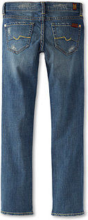 7 For All Mankind Straight Leg Jean in Light Blue Destroyed