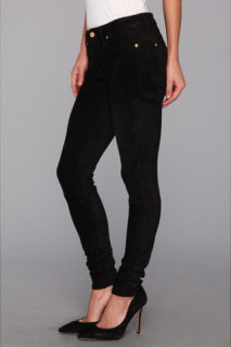 7 For All Mankind Sueded Skinny Jean in Black Suede