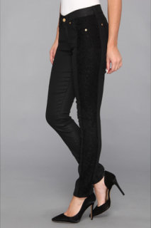 7 For All Mankind The Lace Pieced Skinny in Black/Lace Jeather