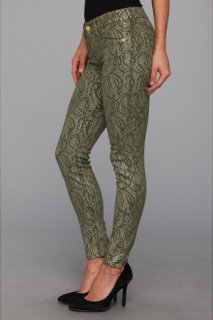 7 For All Mankind The Skinny 29 in Army Green w/ Almond Foil