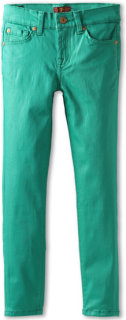 7 For All Mankind The Skinny Coated Jean in Emerald