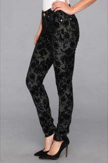 7 For All Mankind The Skinny in Floral Flocked Denim