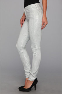 7 For All Mankind The Skinny in Grey/Silver Jacquard Snake