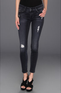 7 For All Mankind The Skinny in Slim Illusion Blue Black Destroyed