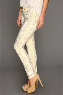 7 For All Mankind The Skinny in White w/ Gold Jacquard Snake