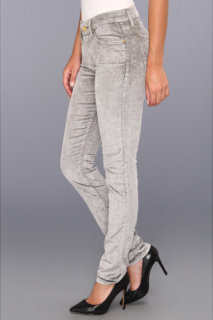 7 For All Mankind The Skinny Mineral Sateen Cord in Bleached Vapor Grey