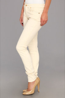 7 For All Mankind The Skinny Solid Sateen Cord in Alabaster White
