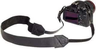 "A7 Lincoln Leather Camera Strap 36-46"" Length Black"