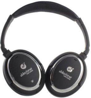 Able Planet Sound Clarity NC550BC Active Noise Canceling Over-The-Ear Headphones Black with Chrome Trim